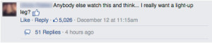 Revealing top comment on the Channel 4 facebook post re: Modesta