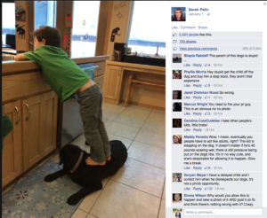 Photo of Sarah Palin's facebook post of a Trig standing on their dog to reach the sink