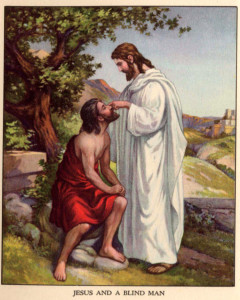 A painting of a blind man kneeling before Jesus. Jesus is touching his fair and healing him